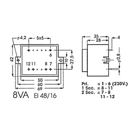 Trafo 4824-2    2x 12v/350ma