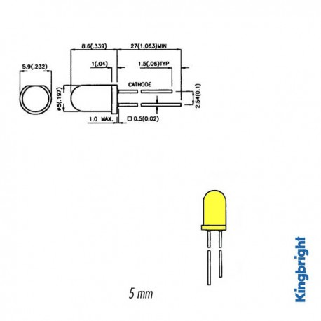 knipperled geel 5mm 3v