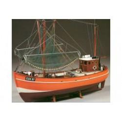 Houten scheepsmodel van de garnalenvisser Cux 87
