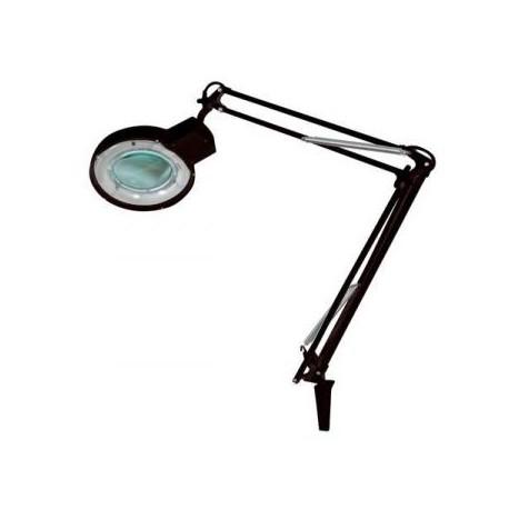 loeplamp met tafelklem zwart, rondom TL verlichting (geen LED!)