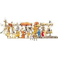Boerderij figuren 1:87/H0 36st. pop-2cm geschilderd