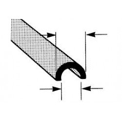 ABS halfrond open profiel 4,8mm L-38,5CM
