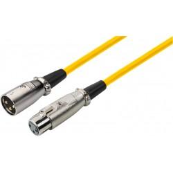 XLR kabel M/F 0.7mtr geel