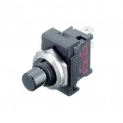 puls-drukschak 250V6A 1Xwissel  zwart  gat-12mm