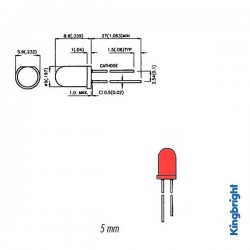 Knipperled rood   liteon 5mm 3v