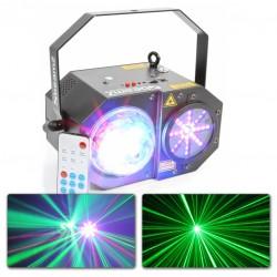 Rood/Groen laser +  RGBW jellyball + LED lichtorgel