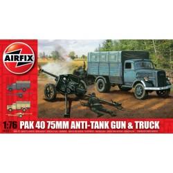 PAK 40 75MM ANTI-TANK GUN & TRUCK 1/76