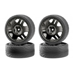 1/10 velg+band zwart Low.p 4st.
