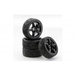 1/10 band+velg F12 style zwart 4st.