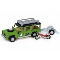 Junior line houtbouw geschenkset Jeep+trailer+motor