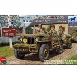 US GPW 1/4 TON 4X4 TRUCK (1942) W/10T-CWT TRAILER & CREW 1/35
