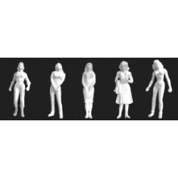 Female schaal figuren, 1/100 wit 10st. H-16mm