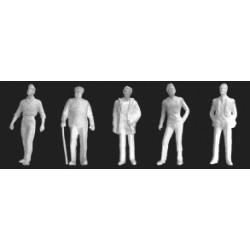 1/48 schaal figuren, wit 5st. H-36mm