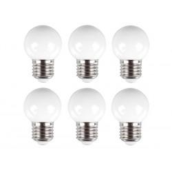 Wtte LED feestlampjes 6x -prikkabel-