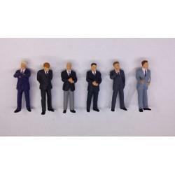 """6 figuren, """"zakenmannen"""" 1/50 H-36mm"""