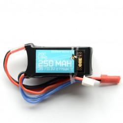 3S 11.1v 250mAh 20C Lipo accu 40x22x14mm 25gr.