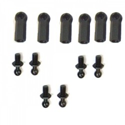 4mm Ball Stud & Ball Cup for 3mm Rod 6st.