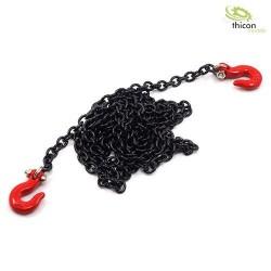 1/14 scale Haak rood metaal, met ketting zwart 96 cm lang