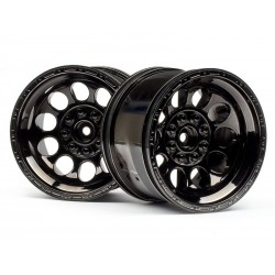 1/10 zwart/chrome monstertruck velgen 2st.