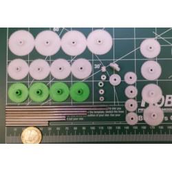 set tandwieltjes met assen PVC asmaat 3mm