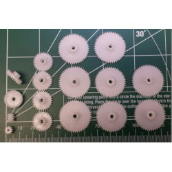 set tandwieltjes 12st PVC voor as 3mm (pinionas-2mm)