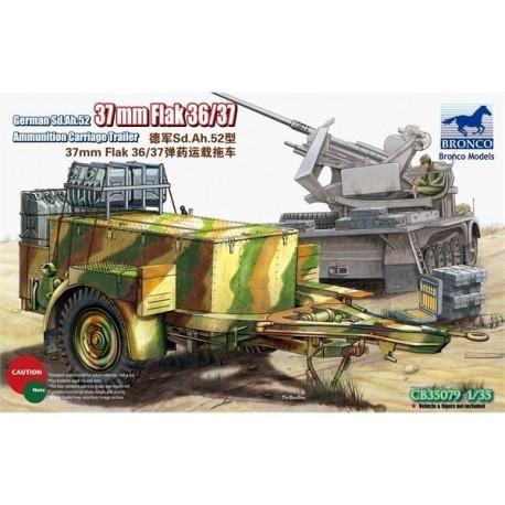 GERMAN SD.AH.52 37MM FLAK 36/37 AMMO TRAILER1/35