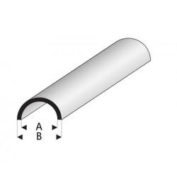 Styrene kunststof halfrond buis 2,5x4mm 1mtr