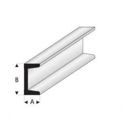 Styrene kunststof U-profiel (A)5x(B)10mm 1mtr