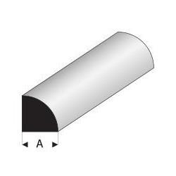 Styrene kunststof kwart rond profiel 1,5mm 1mtr.