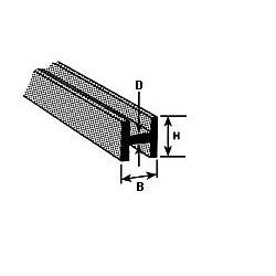 H profiel 1,6 x 1,6 mm L-25cm