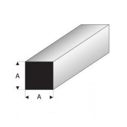 Styrene kunststof Massief vierkant profiel 4x4mm 1mtr.