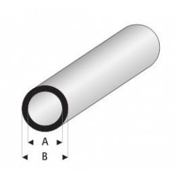 Styrene kunststof rond buis 8x6mm 1mtr.