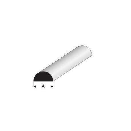 Styrene kunststof halfrond profiel 8mm 1mtr