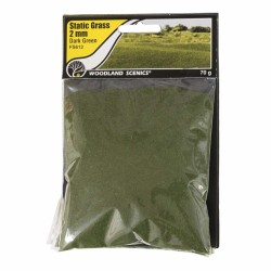 Woodland Scenics FS613 Static Grass, Dark Green 2mm 70gram