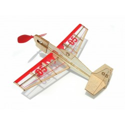 Houten kit Stunt Flyer met rubbermotor spanw. 25cm.