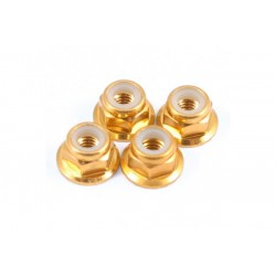 1/10 velgmoeren met flens M4 goudkleurig 4st
