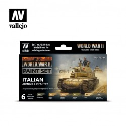 WWII Italian armour & infantry model color paint set 6x17ml.