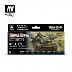 WWII British armour & infantry model color paint set 8x17ml.