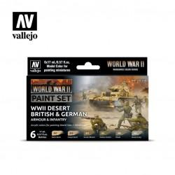 WWII German & British desert model color paint set 6x17ml.