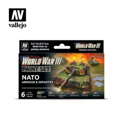WWII NATO armour & infantry model color paint set 6x17ml.