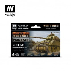WWII British armour & infantry model color paint set 6x17ml.