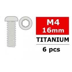 Inbusbout Titanium M4x16mm met platte bolkop, inbus 6st.