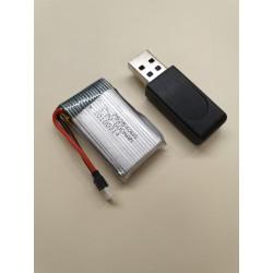 1S 3.7V 600mAh lipo accu inclusief USB lader